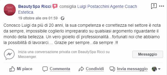 testimonianza di Beauty spa Ricci per Luigi Postacchini agente coach
